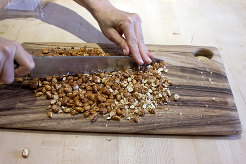 chopping peanuts