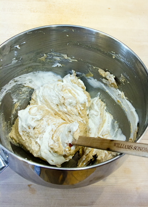 folding cream into peanut butter mixture