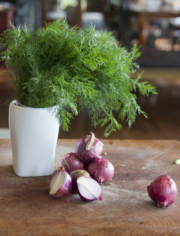 dill and shallots