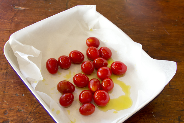 grape tomatoes ready for roasting
