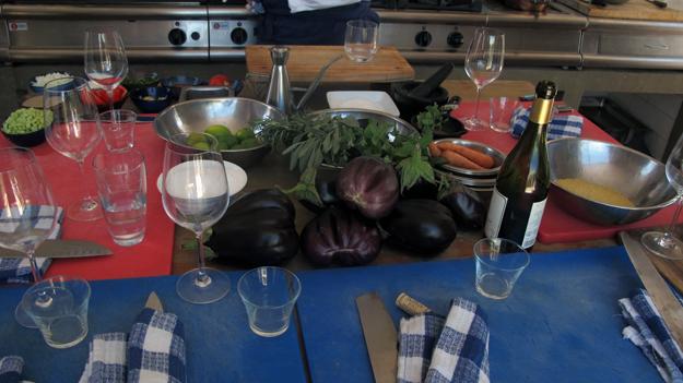 eggplant carpaccio mise en place