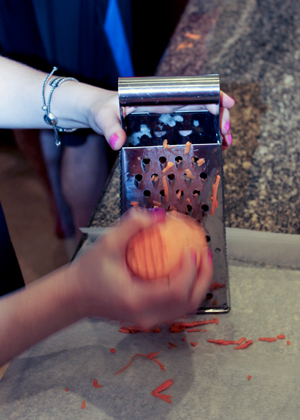 grating sweet potatoes