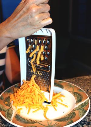 shredding cheddar