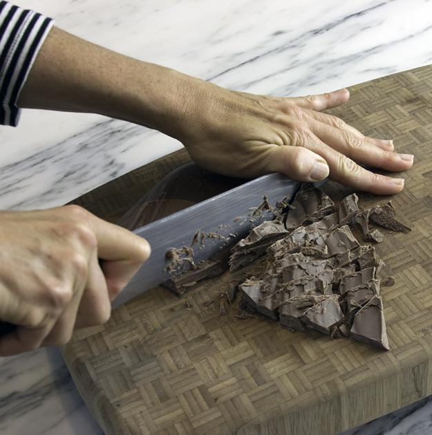 chopping milk chocolate