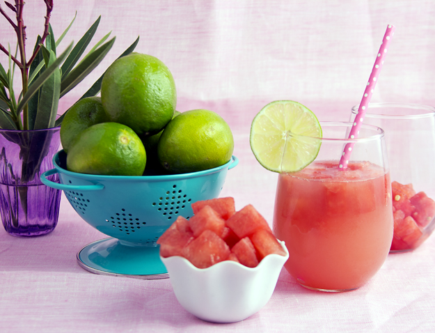 bowl of limes and white bowl of frozen melon cubes 3jpg