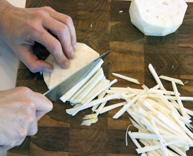 cutting celeriac into julienne