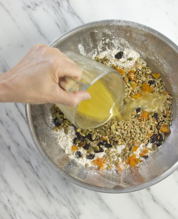 adding liquid ingredients