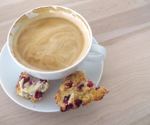 partrige berry scones and latte