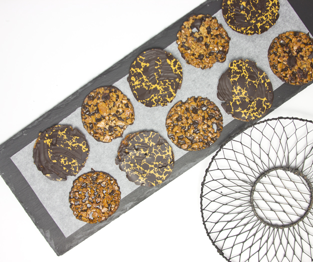 florentines on slate tile with wire dish