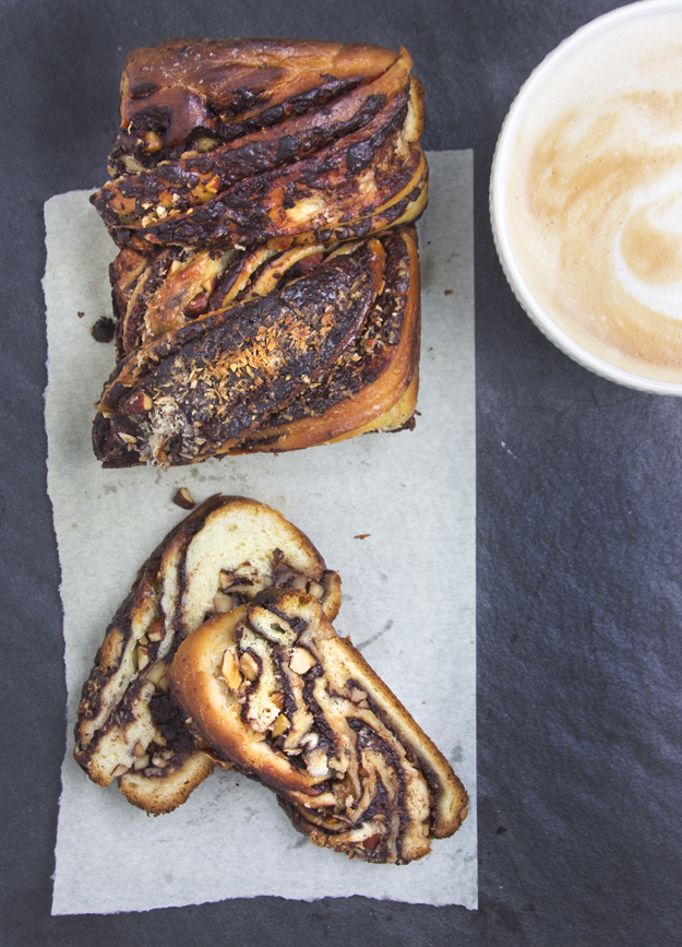Almond Joy Babka with a latte 2