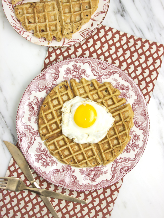oat and maple waffle topped with fried egg