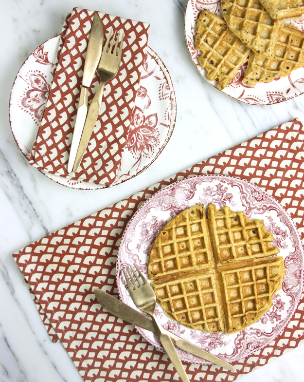 waffles on red plates 2