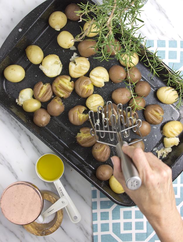 gently smash potatoes