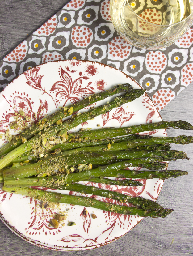 asparagus on red plate