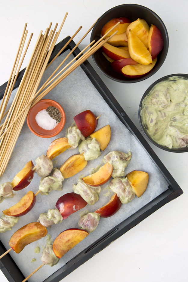 Grilled Chicken and Nectarine Skewers with Peanut Coconut Sauce | Salt ...