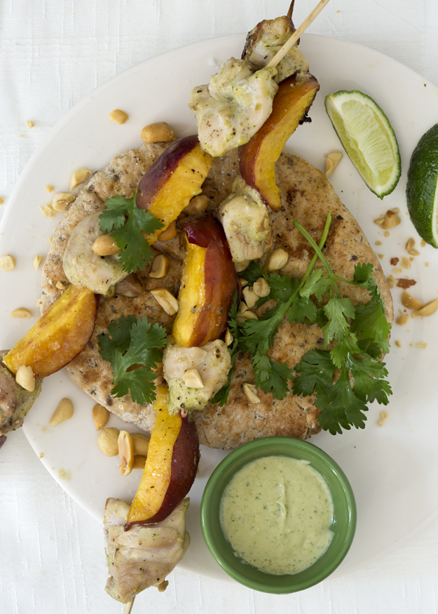 ... Grilled Chicken and Nectarine Skewers with Coconut –Peanut Sauce
