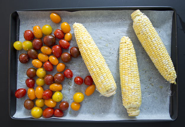 tomatoes and corn ready for roasting