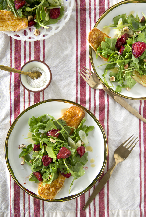 Salad on r and w stripe cloth