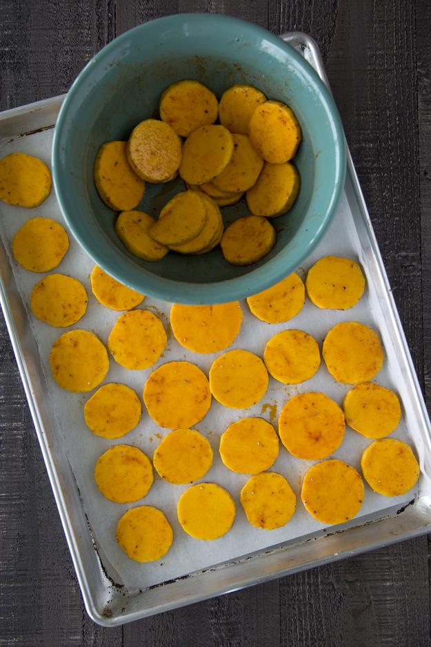 mixing bowl and baking sheet