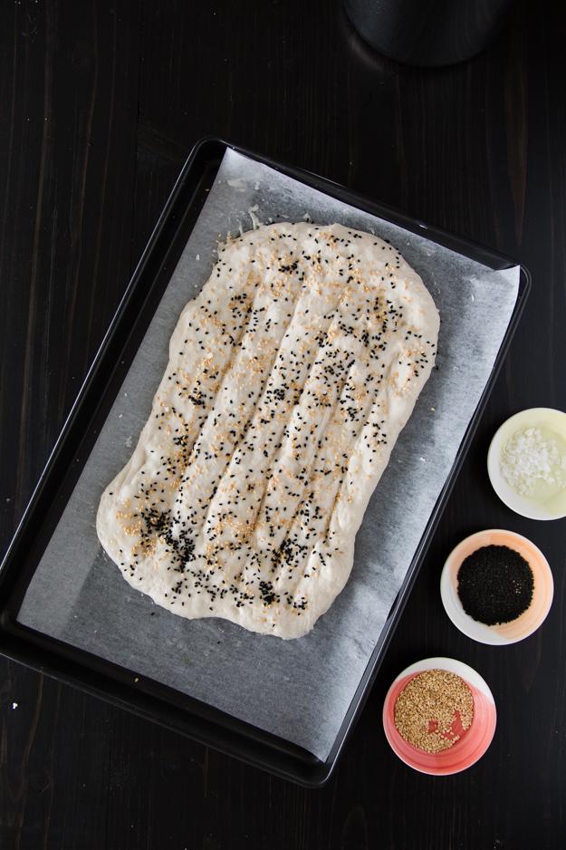 sesame, nigella and salt