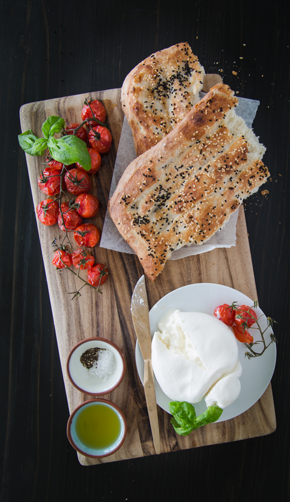 with burrata and tomatoes