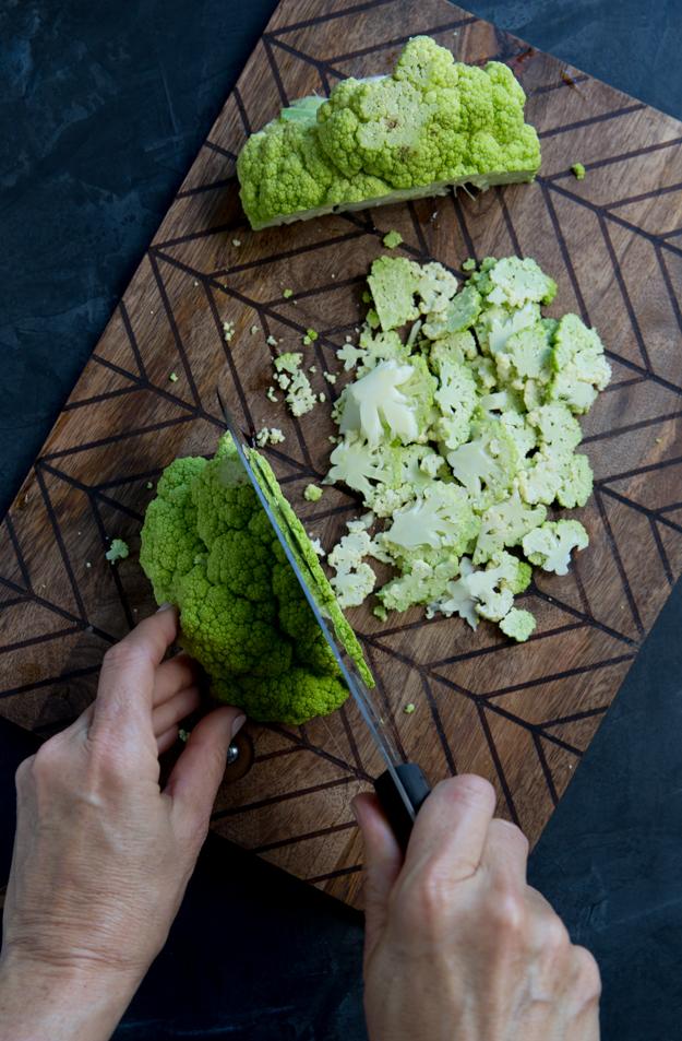 slicing cauliflower